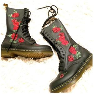 Dr. martens floral tall boots